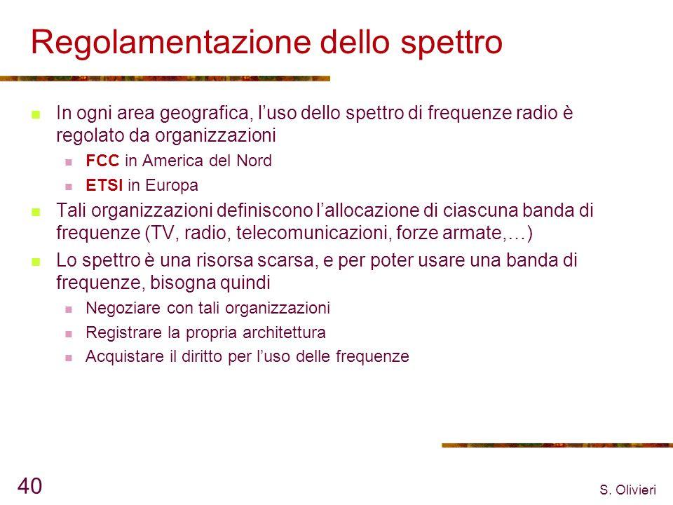 S. Olivieri 40 Regolamentazione dello spettro In ogni area geografica, luso dello spettro di frequenze radio è regolato da organizzazioni FCC in Ameri