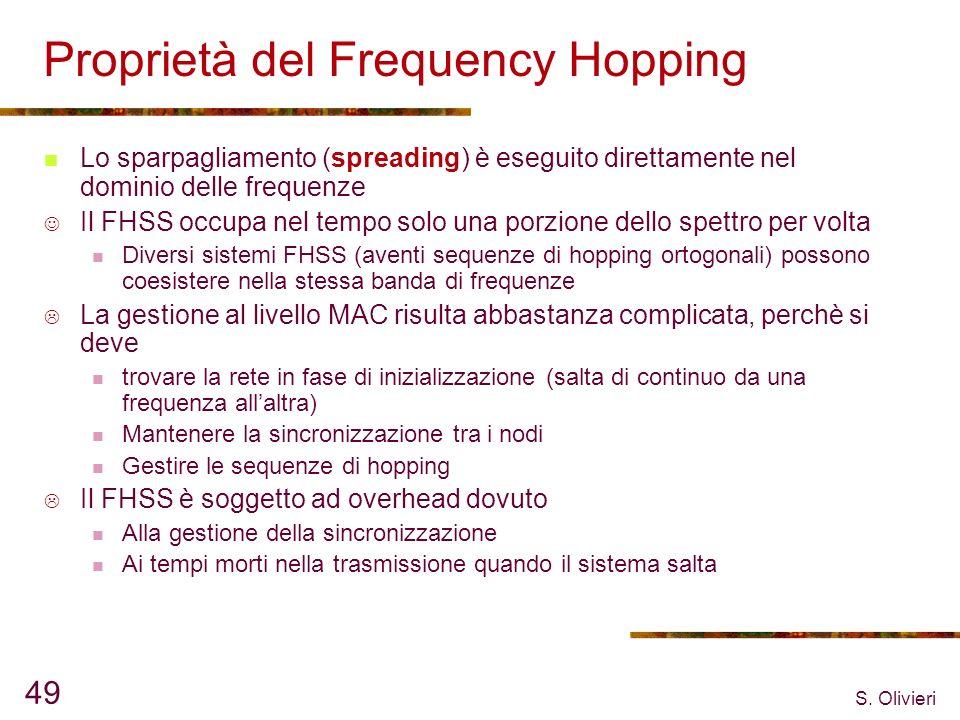 S. Olivieri 49 Proprietà del Frequency Hopping Lo sparpagliamento (spreading) è eseguito direttamente nel dominio delle frequenze Il FHSS occupa nel t