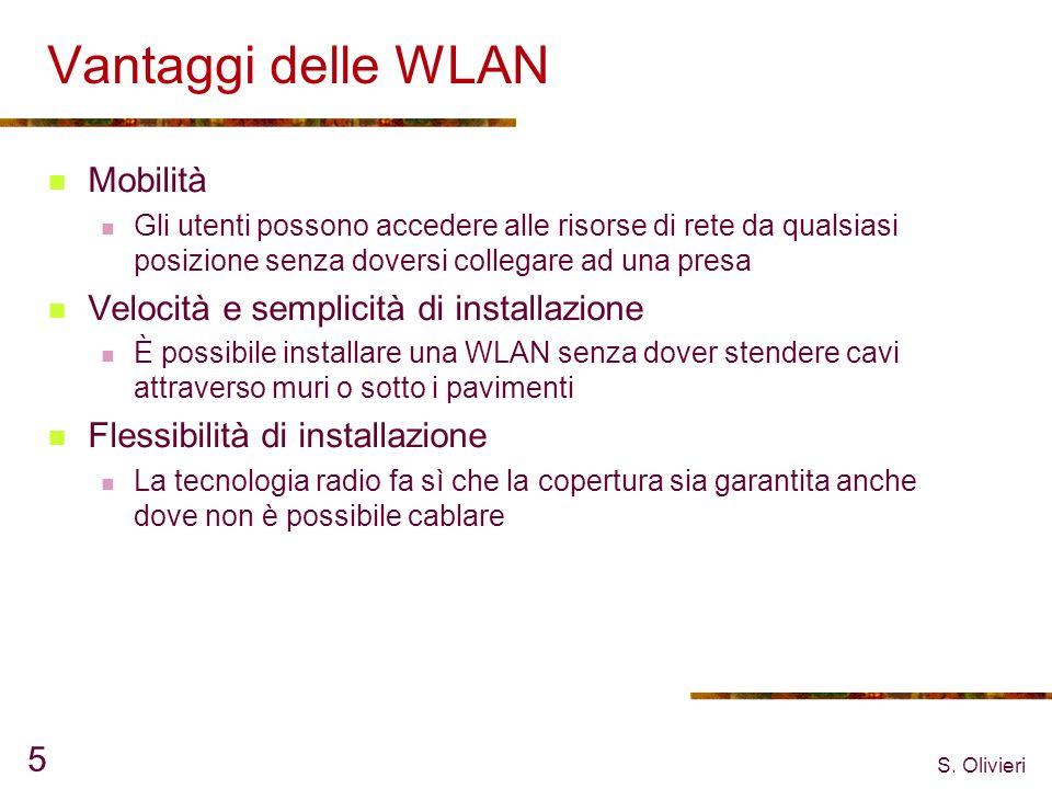 S. Olivieri 5 Vantaggi delle WLAN Mobilità Gli utenti possono accedere alle risorse di rete da qualsiasi posizione senza doversi collegare ad una pres