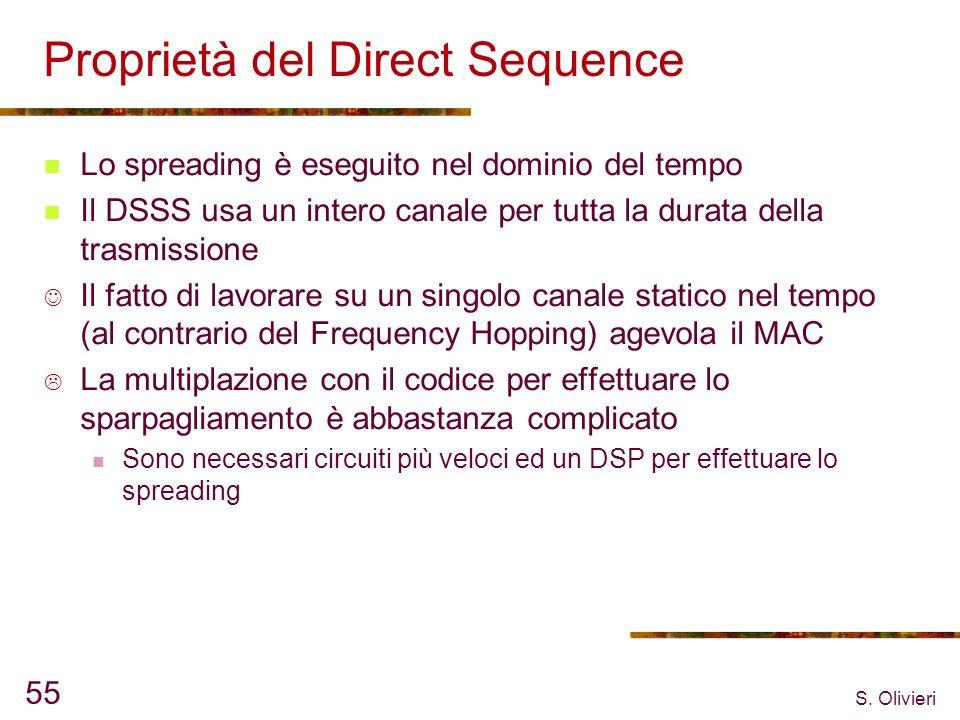 S. Olivieri 55 Proprietà del Direct Sequence Lo spreading è eseguito nel dominio del tempo Il DSSS usa un intero canale per tutta la durata della tras