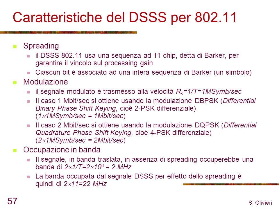 S. Olivieri 57 Caratteristiche del DSSS per 802.11 Spreading il DSSS 802.11 usa una sequenza ad 11 chip, detta di Barker, per garantire il vincolo sul