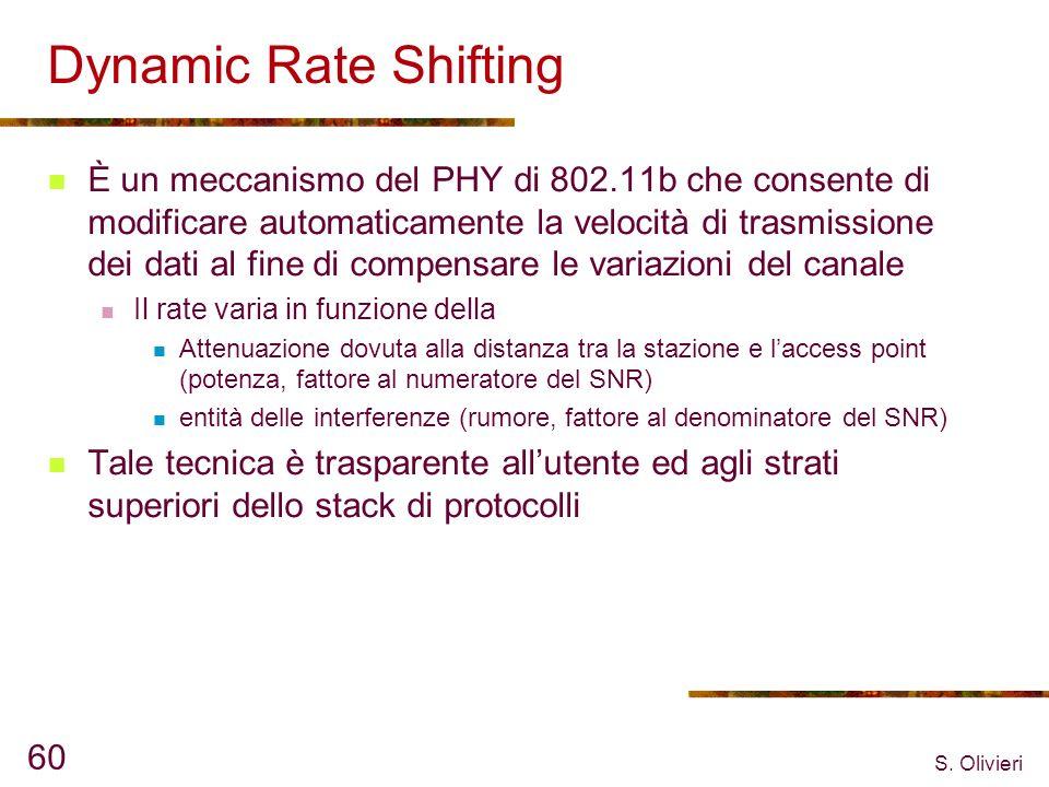 S. Olivieri 60 Dynamic Rate Shifting È un meccanismo del PHY di 802.11b che consente di modificare automaticamente la velocità di trasmissione dei dat