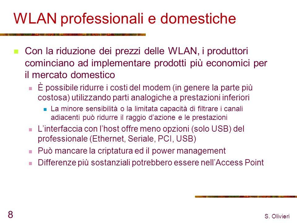S. Olivieri 8 WLAN professionali e domestiche Con la riduzione dei prezzi delle WLAN, i produttori cominciano ad implementare prodotti più economici p