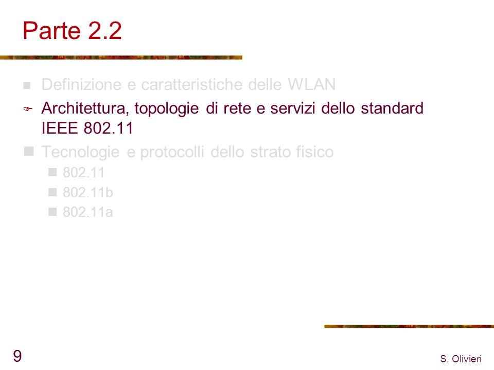 S. Olivieri 9 Parte 2.2 Definizione e caratteristiche delle WLAN Architettura, topologie di rete e servizi dello standard IEEE 802.11 Tecnologie e pro