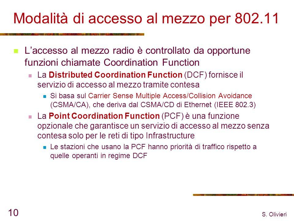S. Olivieri 10 Modalità di accesso al mezzo per 802.11 Laccesso al mezzo radio è controllato da opportune funzioni chiamate Coordination Function La D
