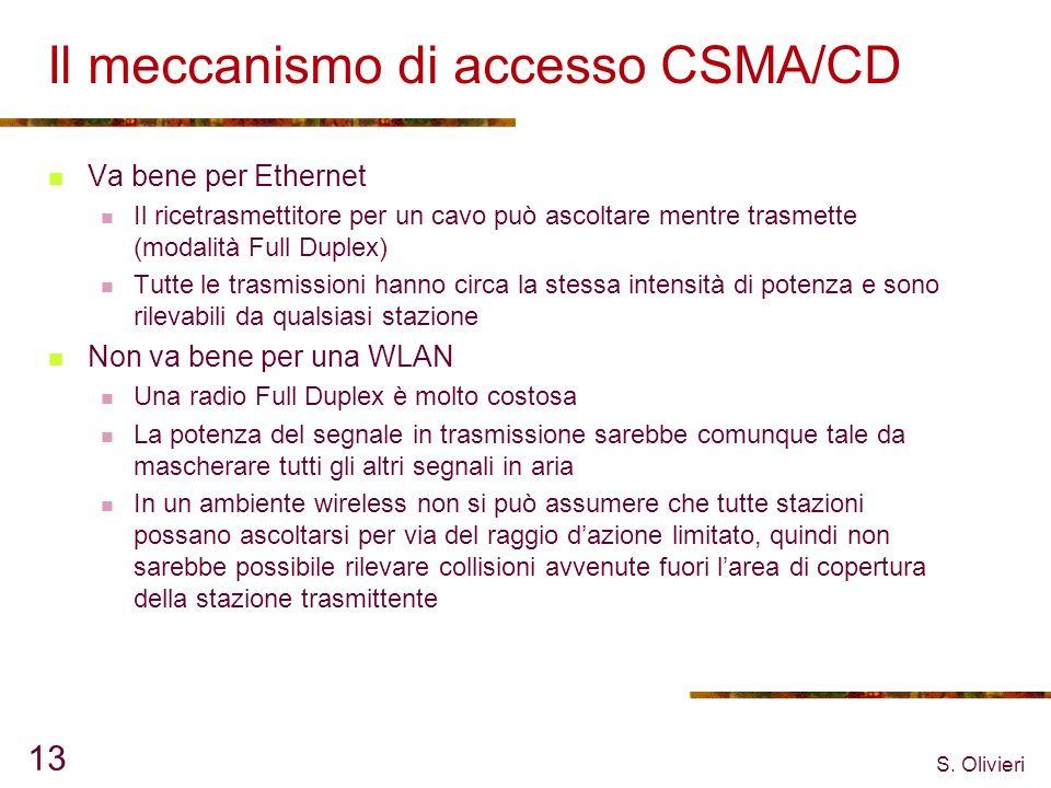 S. Olivieri 13 Il meccanismo di accesso CSMA/CD Va bene per Ethernet Il ricetrasmettitore per un cavo può ascoltare mentre trasmette (modalità Full Du