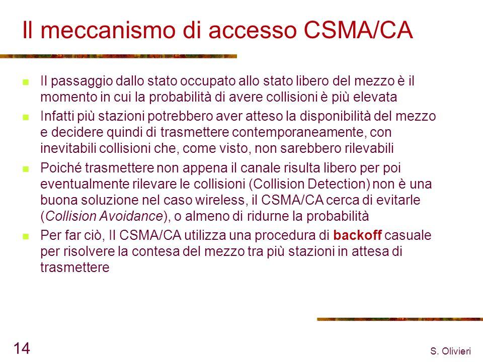 S. Olivieri 14 Il meccanismo di accesso CSMA/CA Il passaggio dallo stato occupato allo stato libero del mezzo è il momento in cui la probabilità di av