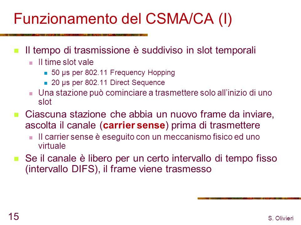 S. Olivieri 15 Funzionamento del CSMA/CA (I) Il tempo di trasmissione è suddiviso in slot temporali Il time slot vale 50 µs per 802.11 Frequency Hoppi