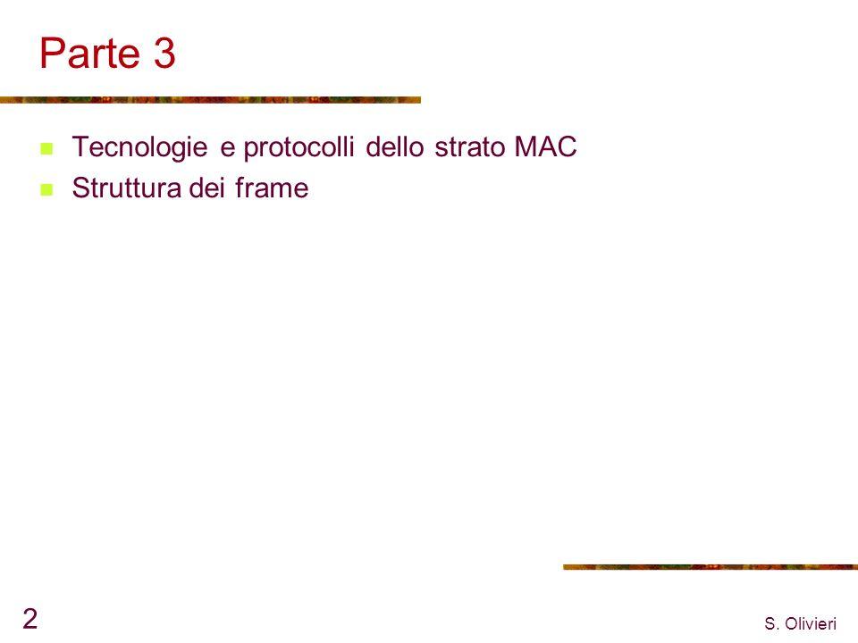 S. Olivieri 2 Parte 3 Tecnologie e protocolli dello strato MAC Struttura dei frame