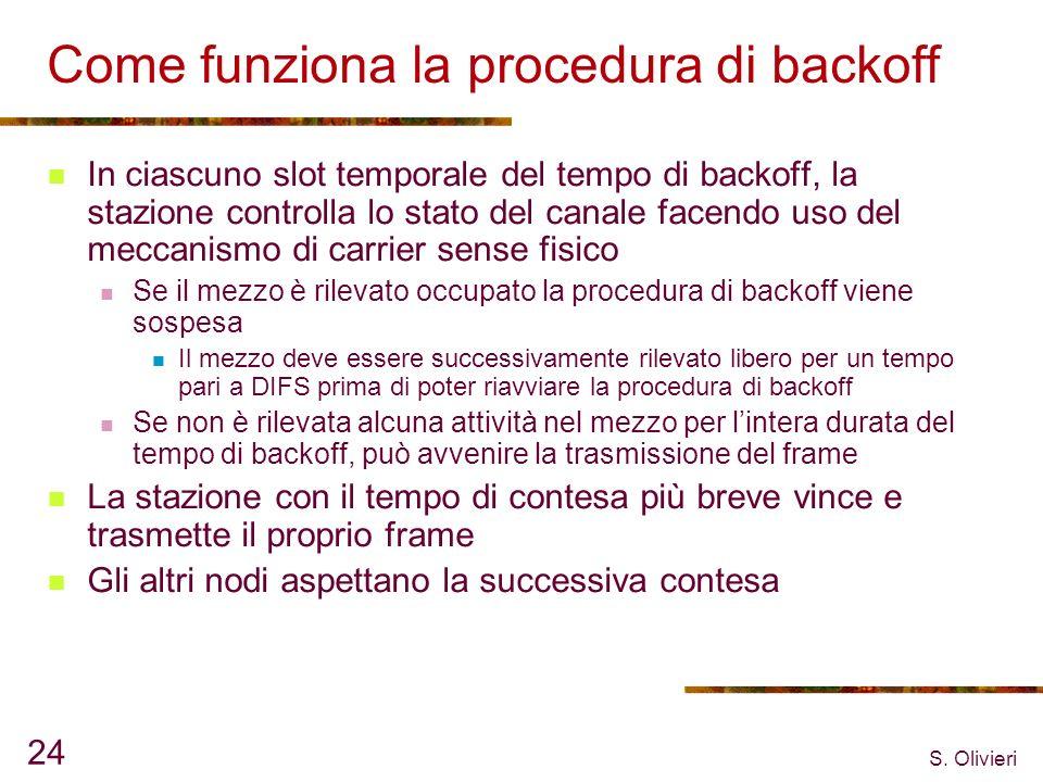 S. Olivieri 24 Come funziona la procedura di backoff In ciascuno slot temporale del tempo di backoff, la stazione controlla lo stato del canale facend