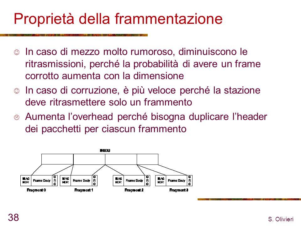 S. Olivieri 38 Proprietà della frammentazione In caso di mezzo molto rumoroso, diminuiscono le ritrasmissioni, perché la probabilità di avere un frame