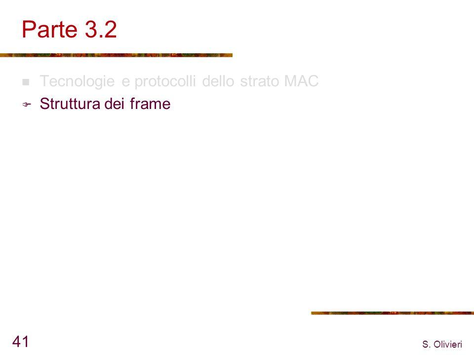 S. Olivieri 41 Parte 3.2 Tecnologie e protocolli dello strato MAC Struttura dei frame