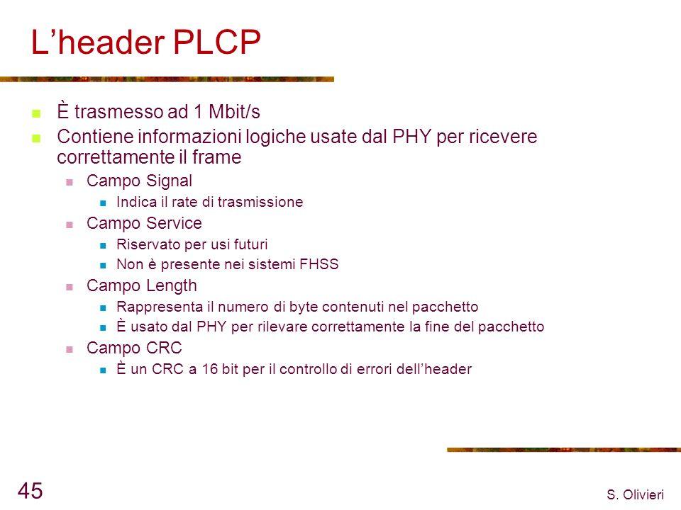 S. Olivieri 45 Lheader PLCP È trasmesso ad 1 Mbit/s Contiene informazioni logiche usate dal PHY per ricevere correttamente il frame Campo Signal Indic