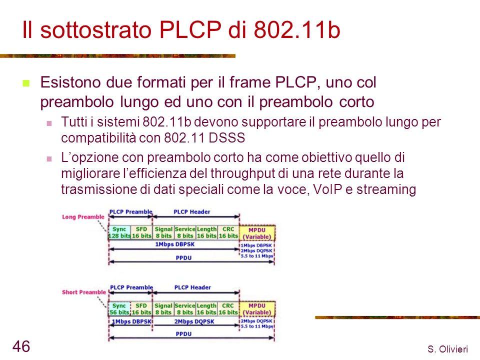 S. Olivieri 46 Il sottostrato PLCP di 802.11b Esistono due formati per il frame PLCP, uno col preambolo lungo ed uno con il preambolo corto Tutti i si