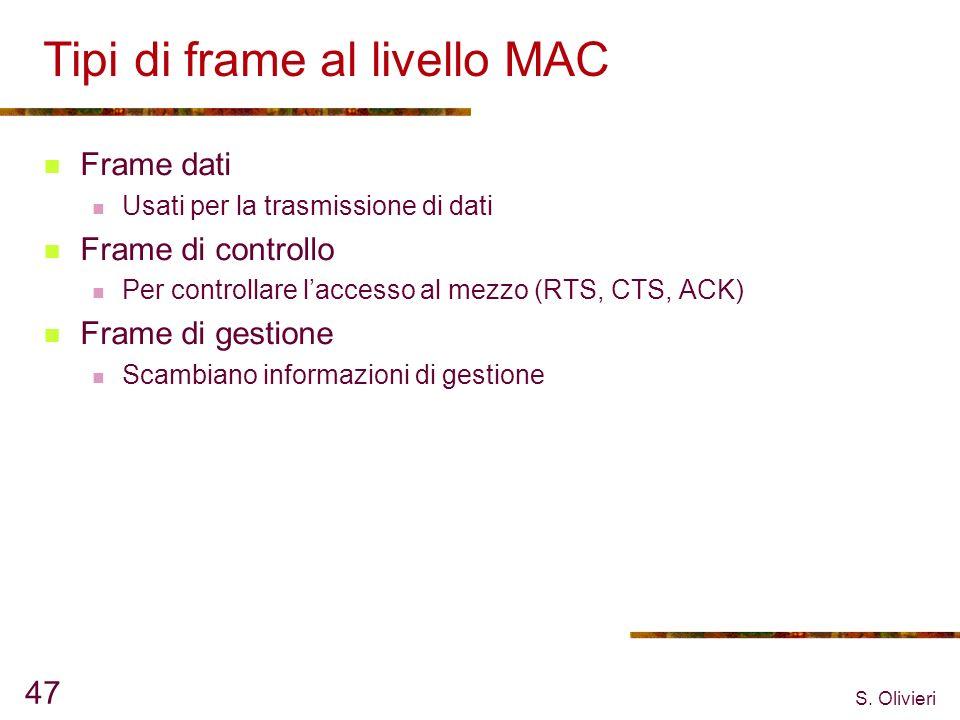 S. Olivieri 47 Tipi di frame al livello MAC Frame dati Usati per la trasmissione di dati Frame di controllo Per controllare laccesso al mezzo (RTS, CT