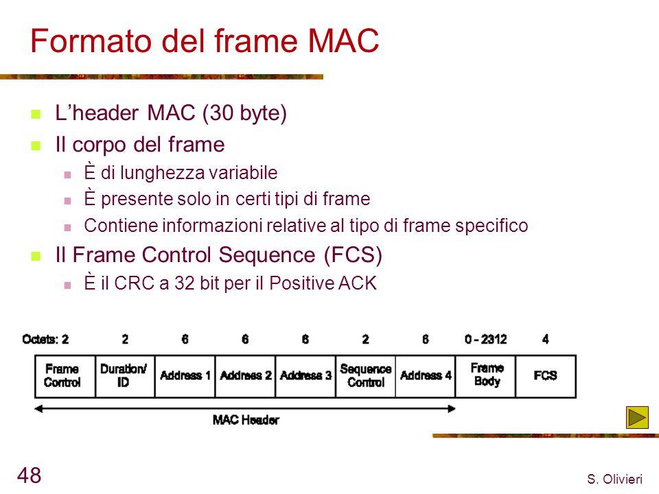 S. Olivieri 48 Formato del frame MAC Lheader MAC (30 byte) Il corpo del frame È di lunghezza variabile È presente solo in certi tipi di frame Contiene