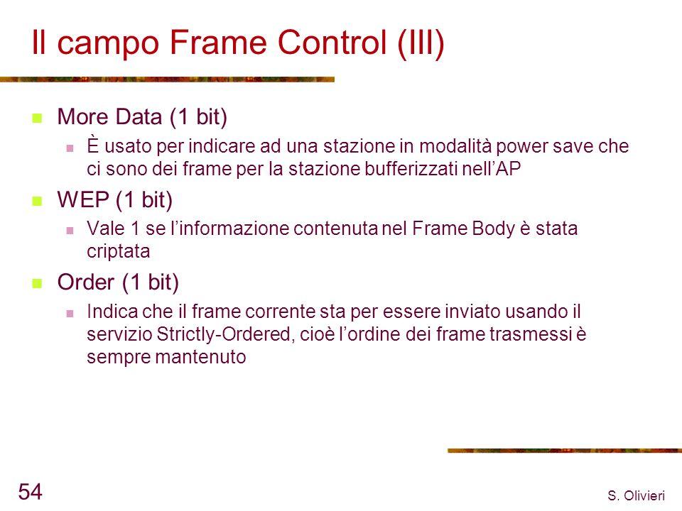 S. Olivieri 54 Il campo Frame Control (III) More Data (1 bit) È usato per indicare ad una stazione in modalità power save che ci sono dei frame per la
