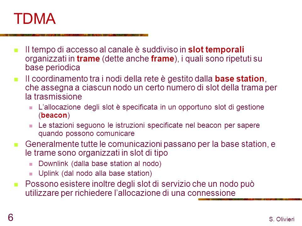 S. Olivieri 6 TDMA Il tempo di accesso al canale è suddiviso in slot temporali organizzati in trame (dette anche frame), i quali sono ripetuti su base