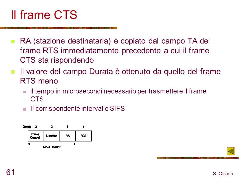 S. Olivieri 61 Il frame CTS RA (stazione destinataria) è copiato dal campo TA del frame RTS immediatamente precedente a cui il frame CTS sta risponden