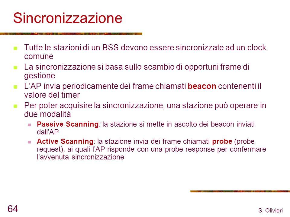 S. Olivieri 64 Sincronizzazione Tutte le stazioni di un BSS devono essere sincronizzate ad un clock comune La sincronizzazione si basa sullo scambio d