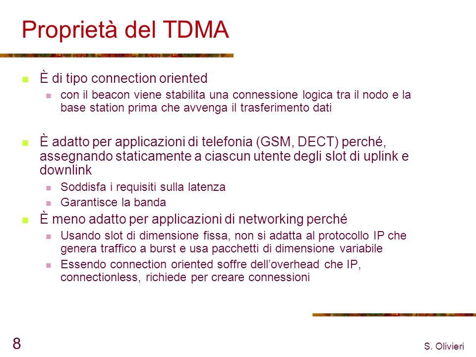 S. Olivieri 8 Proprietà del TDMA È di tipo connection oriented con il beacon viene stabilita una connessione logica tra il nodo e la base station prim