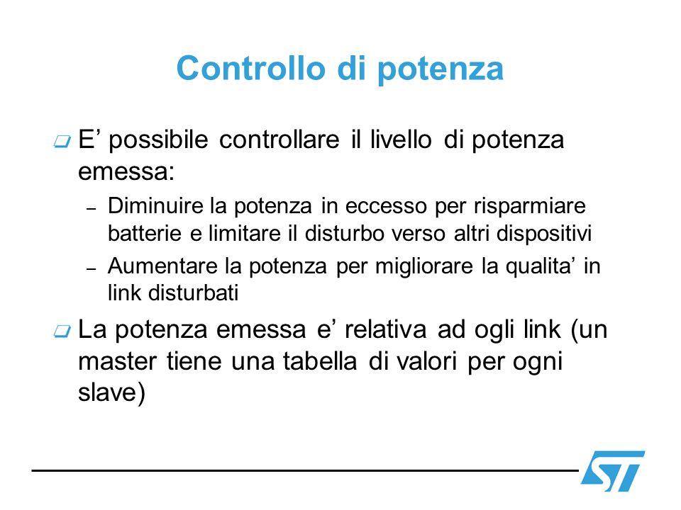 Controllo di potenza E possibile controllare il livello di potenza emessa: – Diminuire la potenza in eccesso per risparmiare batterie e limitare il di