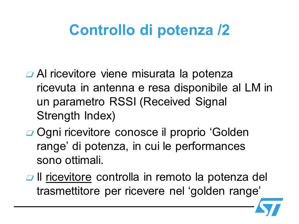 Controllo di potenza /2 Al ricevitore viene misurata la potenza ricevuta in antenna e resa disponibile al LM in un parametro RSSI (Received Signal Str