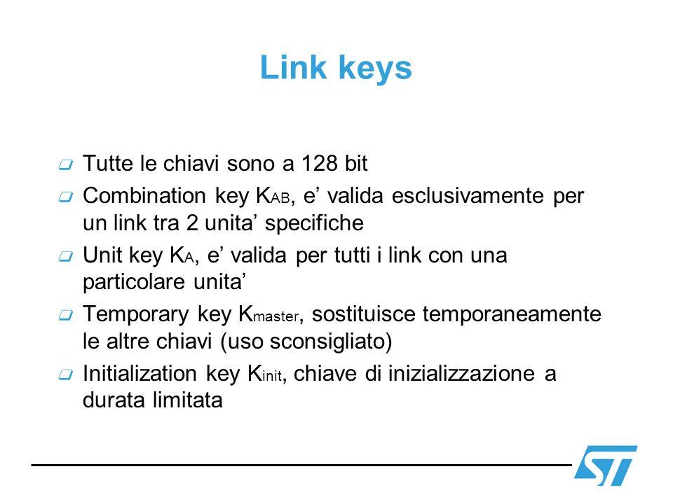 Link keys Tutte le chiavi sono a 128 bit Combination key K AB, e valida esclusivamente per un link tra 2 unita specifiche Unit key K A, e valida per t