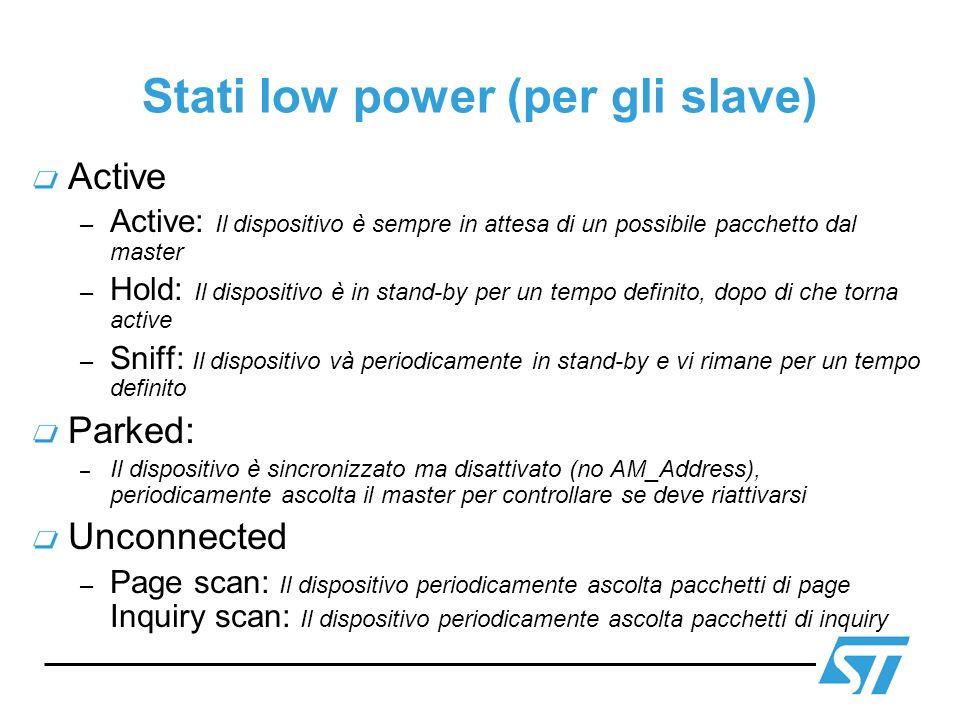 Stati low power (per gli slave) Active – Active: Il dispositivo è sempre in attesa di un possibile pacchetto dal master – Hold: Il dispositivo è in st