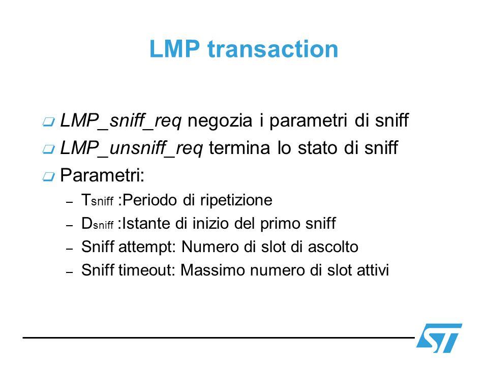 LMP transaction LMP_sniff_req negozia i parametri di sniff LMP_unsniff_req termina lo stato di sniff Parametri: – T sniff :Periodo di ripetizione – D