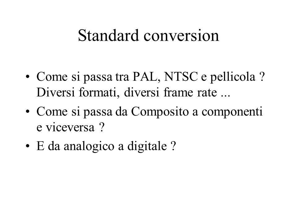 Standard conversion Come si passa tra PAL, NTSC e pellicola ? Diversi formati, diversi frame rate... Come si passa da Composito a componenti e vicever