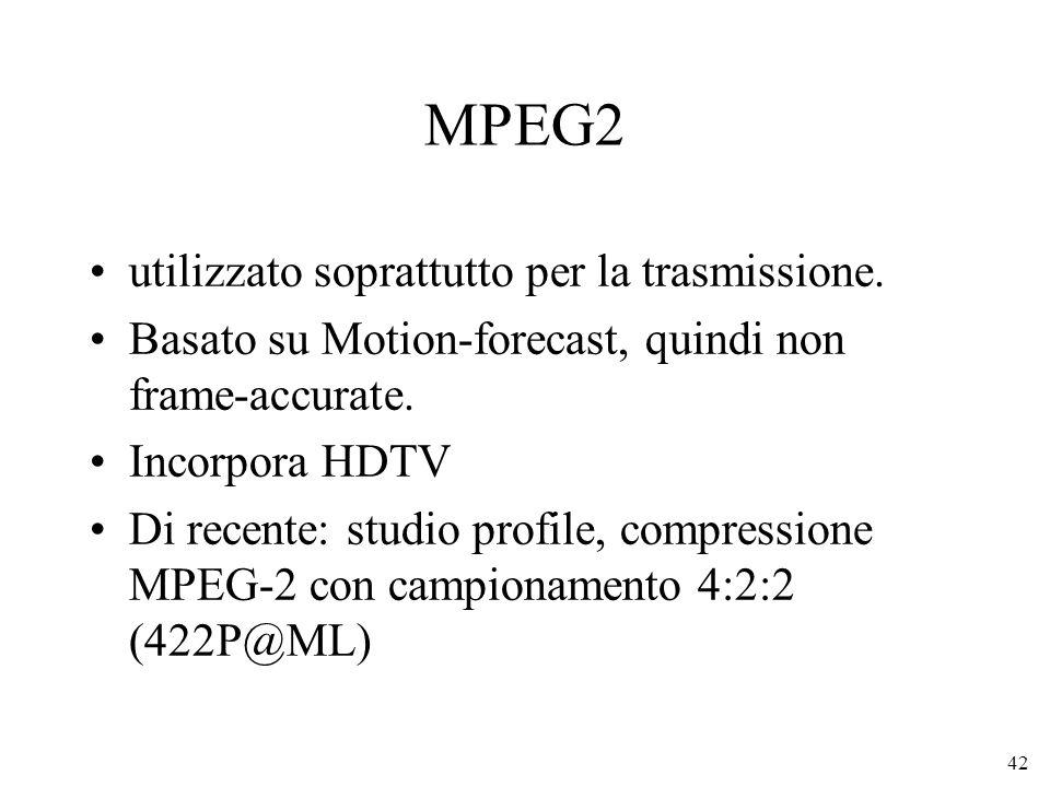 42 MPEG2 utilizzato soprattutto per la trasmissione. Basato su Motion-forecast, quindi non frame-accurate. Incorpora HDTV Di recente: studio profile,