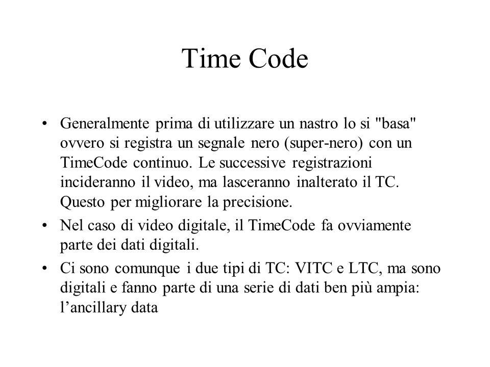 Time Code Generalmente prima di utilizzare un nastro lo si