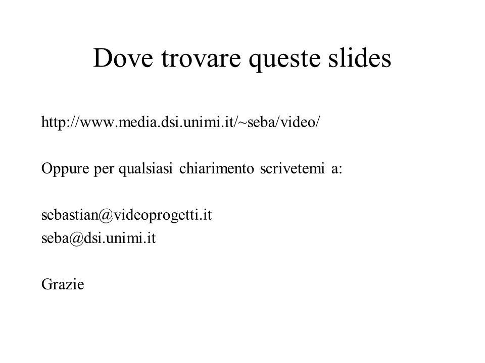 Dove trovare queste slides http://www.media.dsi.unimi.it/~seba/video/ Oppure per qualsiasi chiarimento scrivetemi a: sebastian@videoprogetti.it seba@d