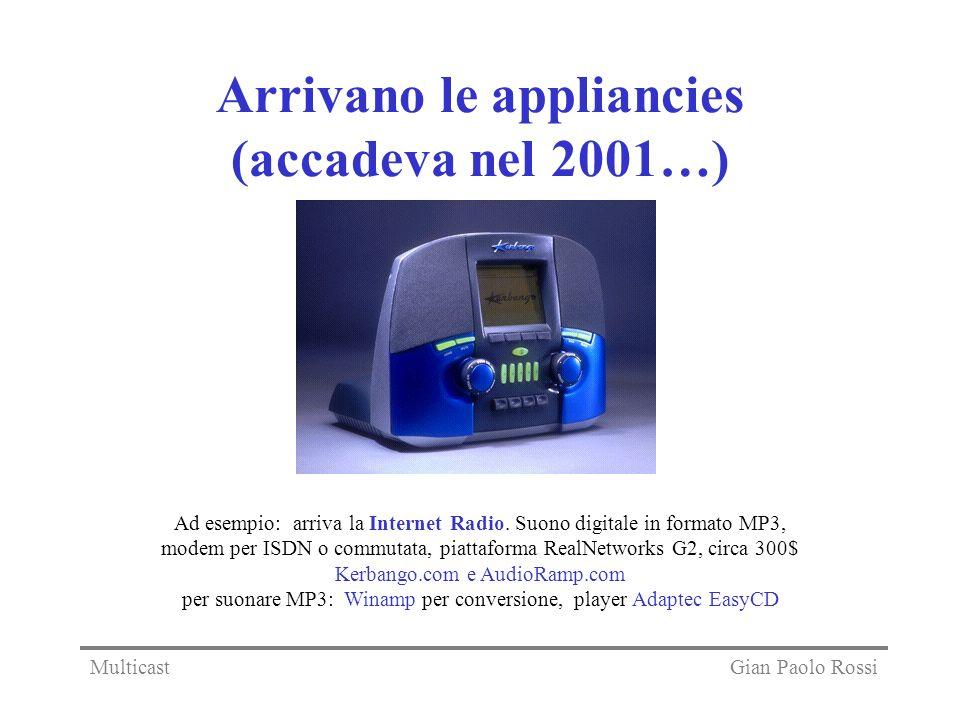 Arrivano le appliancies (accadeva nel 2001…) Ad esempio: arriva la Internet Radio. Suono digitale in formato MP3, modem per ISDN o commutata, piattafo