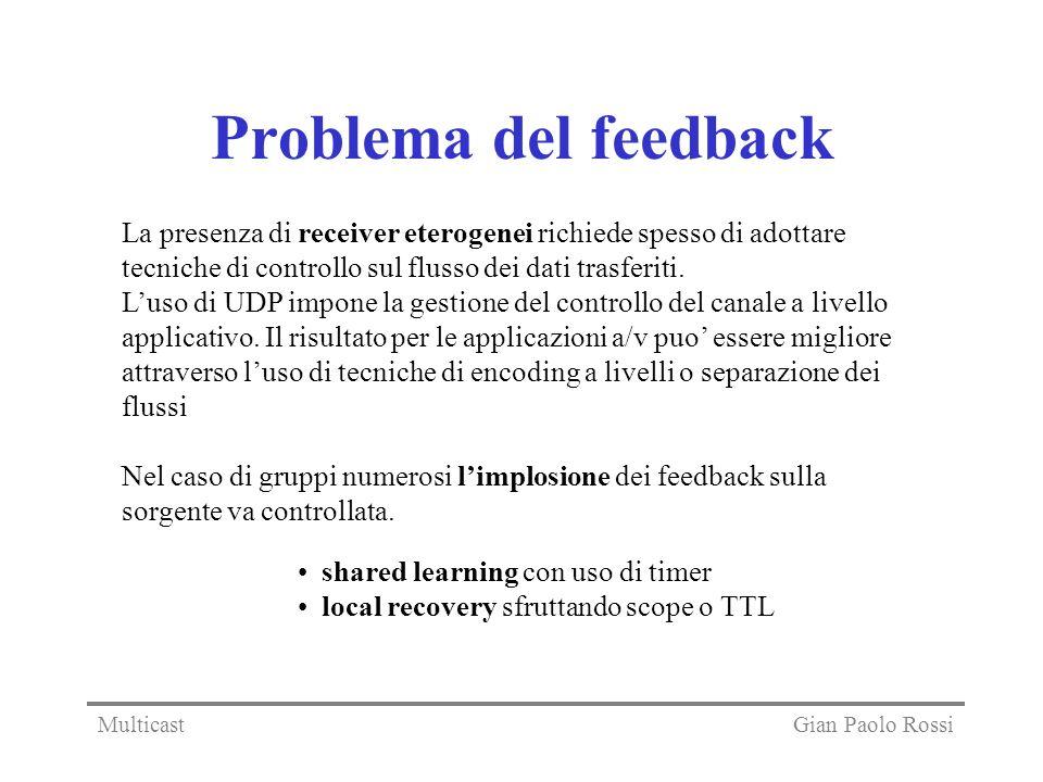 Problema del feedback La presenza di receiver eterogenei richiede spesso di adottare tecniche di controllo sul flusso dei dati trasferiti. Luso di UDP