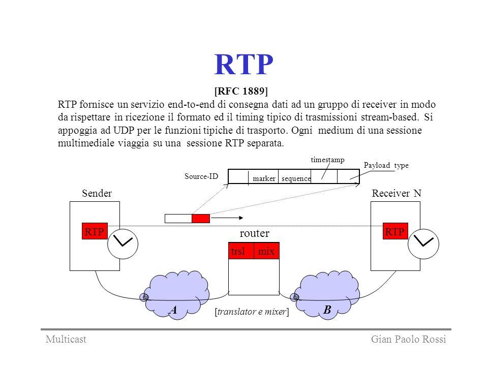 RTP RTP fornisce un servizio end-to-end di consegna dati ad un gruppo di receiver in modo da rispettare in ricezione il formato ed il timing tipico di