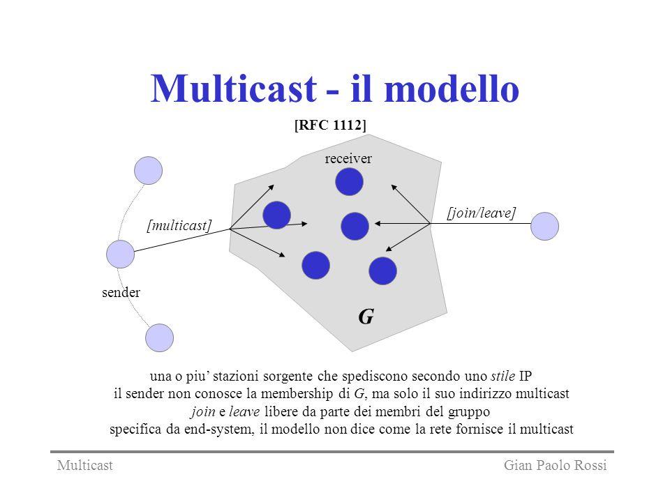 Multicast - il modello G sender [multicast] [join/leave] receiver una o piu stazioni sorgente che spediscono secondo uno stile IP il sender non conosc