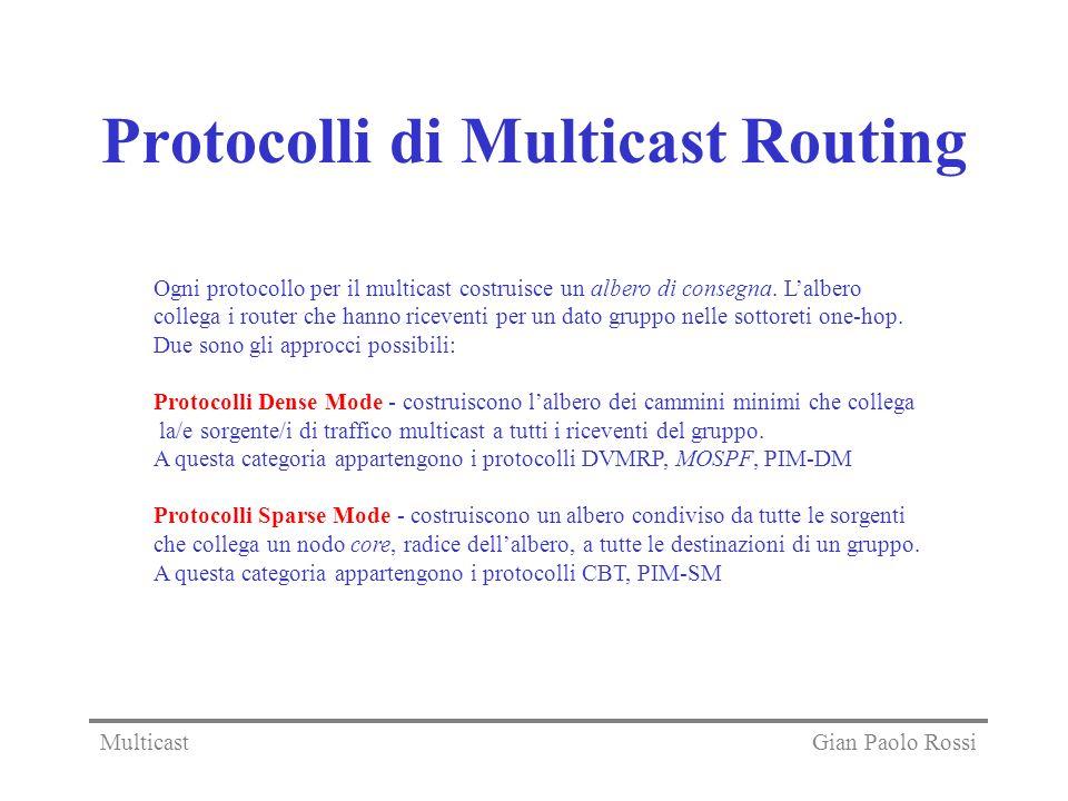 Protocolli di Multicast Routing Ogni protocollo per il multicast costruisce un albero di consegna. Lalbero collega i router che hanno riceventi per un