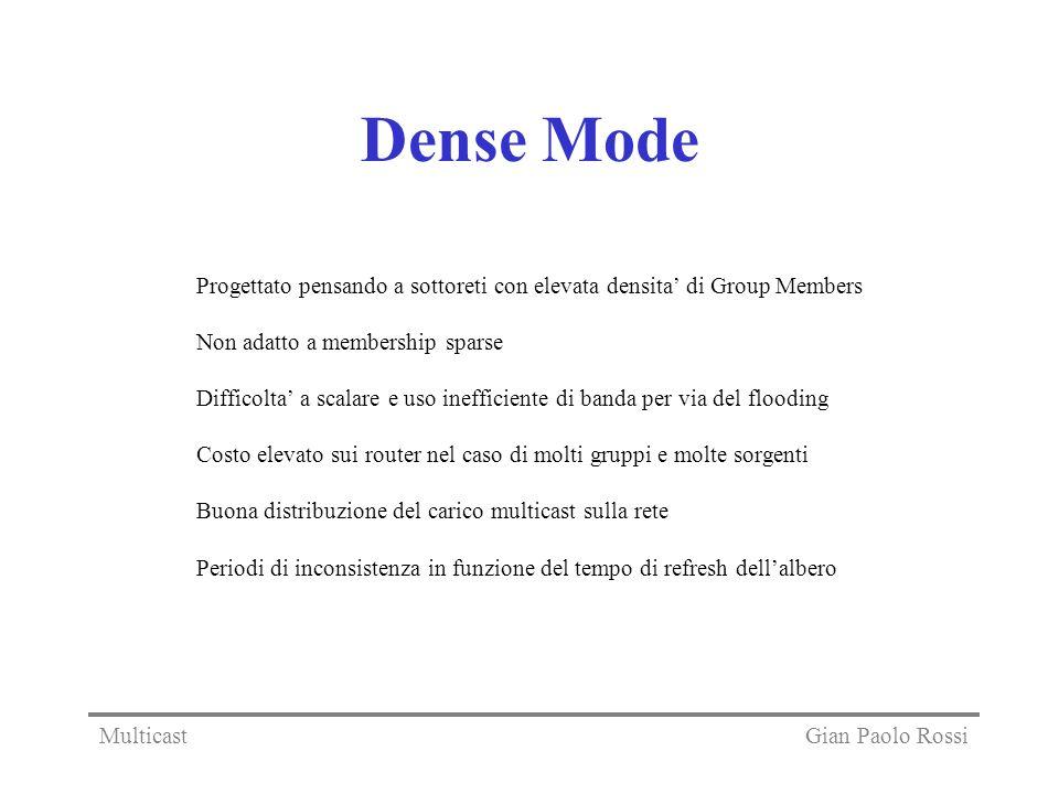 Dense Mode Progettato pensando a sottoreti con elevata densita di Group Members Non adatto a membership sparse Difficolta a scalare e uso inefficiente