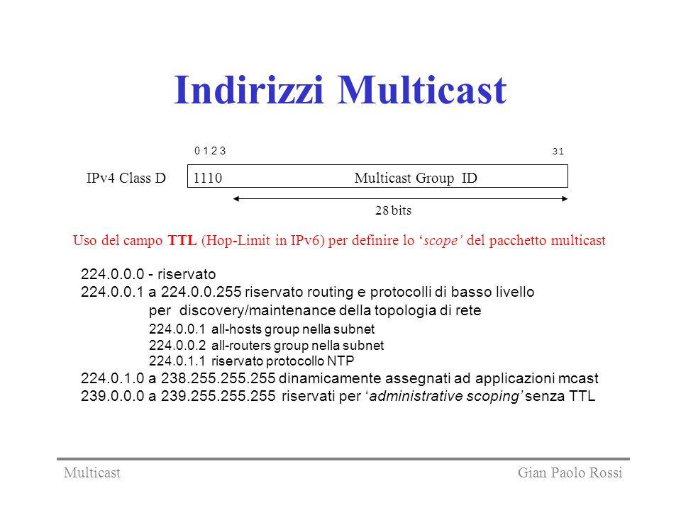Indirizzi Multicast IPv4 Class D 1110 Multicast Group ID 0 1 2 3 31 28 bits 224.0.0.0 - riservato 224.0.0.1 a 224.0.0.255 riservato routing e protocolli di basso livello per discovery/maintenance della topologia di rete 224.0.0.1 all-hosts group nella subnet 224.0.0.2 all-routers group nella subnet 224.0.1.1 riservato protocollo NTP 224.0.1.0 a 238.255.255.255 dinamicamente assegnati ad applicazioni mcast 239.0.0.0 a 239.255.255.255 riservati per administrative scoping senza TTL Uso del campo TTL (Hop-Limit in IPv6) per definire lo scope del pacchetto multicast Gian Paolo RossiMulticast