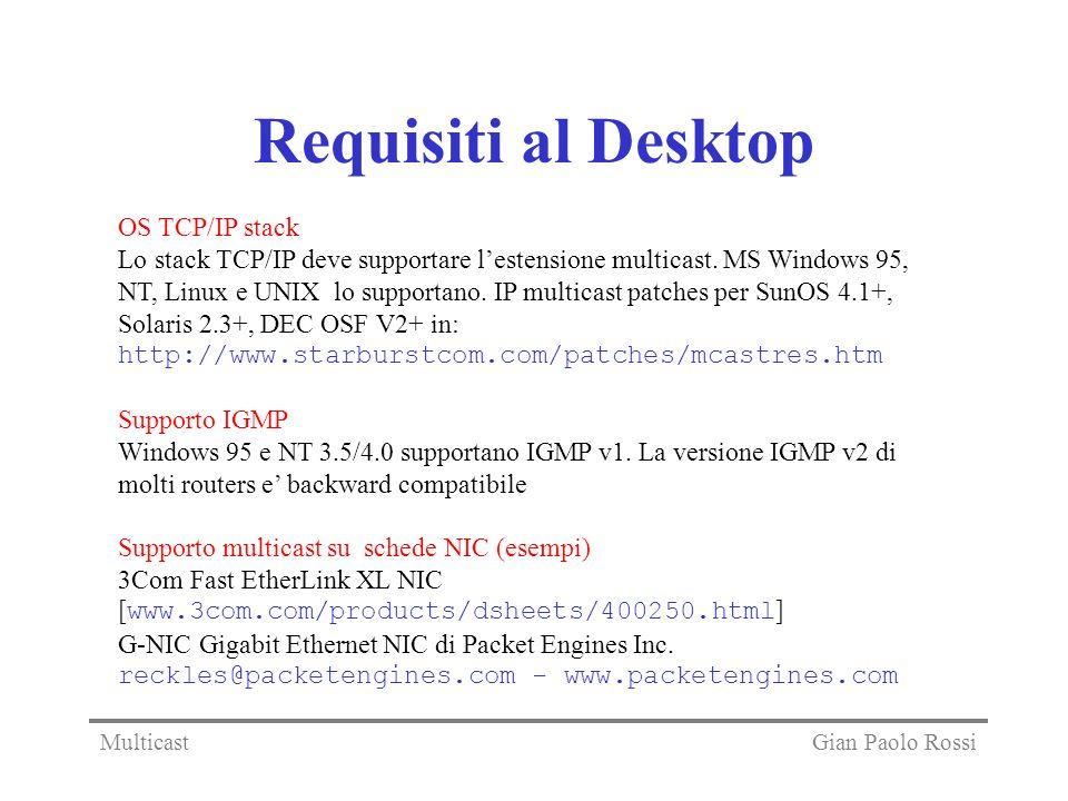 Requisiti al Desktop OS TCP/IP stack Lo stack TCP/IP deve supportare lestensione multicast. MS Windows 95, NT, Linux e UNIX lo supportano. IP multicas