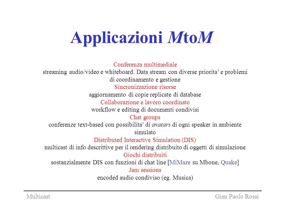 Applicazioni MtoM Conferenza multimediale streaming audio/video e whiteboard. Data stream con diverse priorita e problemi di coordinamento e gestione