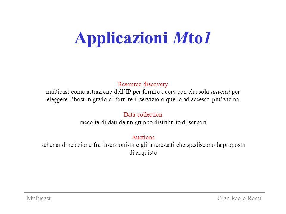 Applicazioni Mto1 Resource discovery multicast come astrazione dellIP per fornire query con clausola anycast per eleggere lhost in grado di fornire il