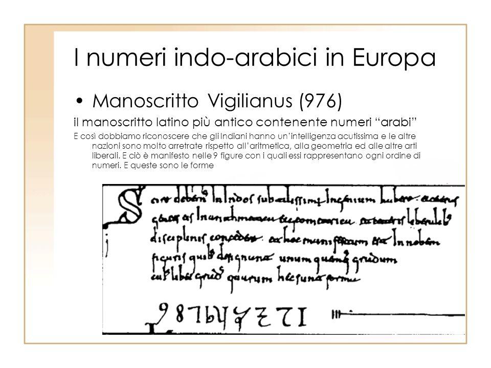 I numeri indo-arabici in Europa Manoscritto Vigilianus (976) il manoscritto latino più antico contenente numeri arabi E così dobbiamo riconoscere che