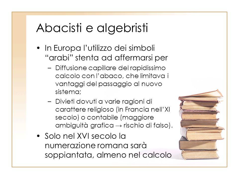 Abacisti e algebristi In Europa lutilizzo dei simboli arabi stenta ad affermarsi per –Diffusione capillare del rapidissimo calcolo con labaco, che lim