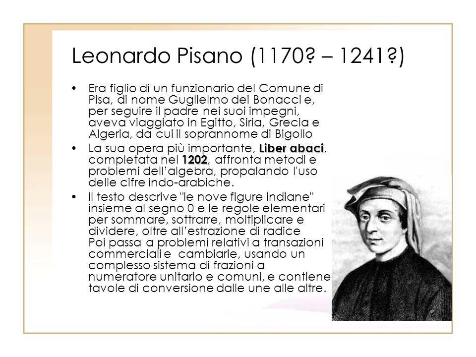 Leonardo Pisano (1170? – 1241?) Era figlio di un funzionario del Comune di Pisa, di nome Guglielmo dei Bonacci e, per seguire il padre nei suoi impegn