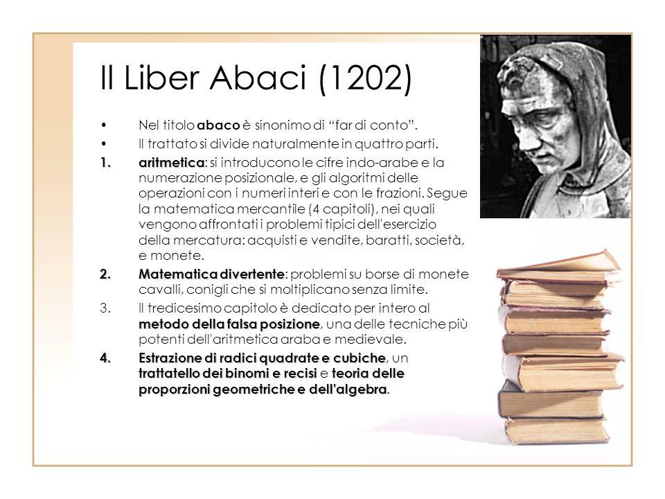 Il Liber Abaci (1202) Nel titolo abaco è sinonimo di far di conto. Il trattato si divide naturalmente in quattro parti. 1.aritmetica 1.aritmetica : si