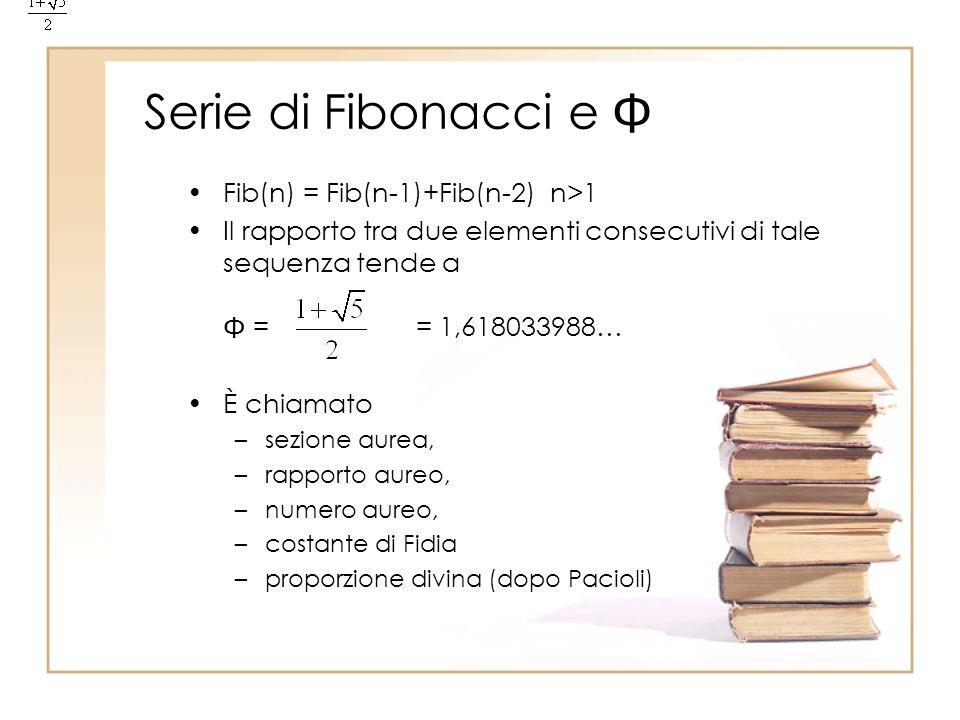 Serie di Fibonacci e Fib(n) = Fib(n-1)+Fib(n-2) n>1 Il rapporto tra due elementi consecutivi di tale sequenza tende a = = 1,618033988… È chiamato –sez