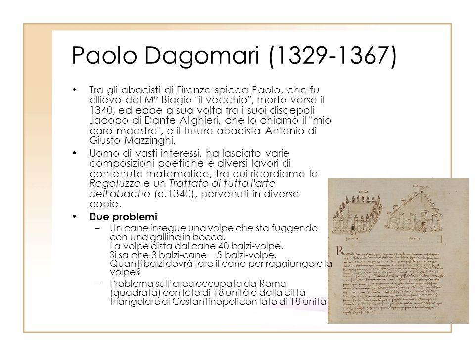 Paolo Dagomari (1329-1367) Tra gli abacisti di Firenze spicca Paolo, che fu allievo del M° Biagio